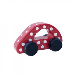 Drewniany samochód czerwony