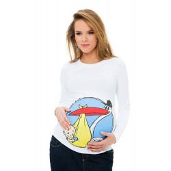 Bluzka ciążowa Bocian biała